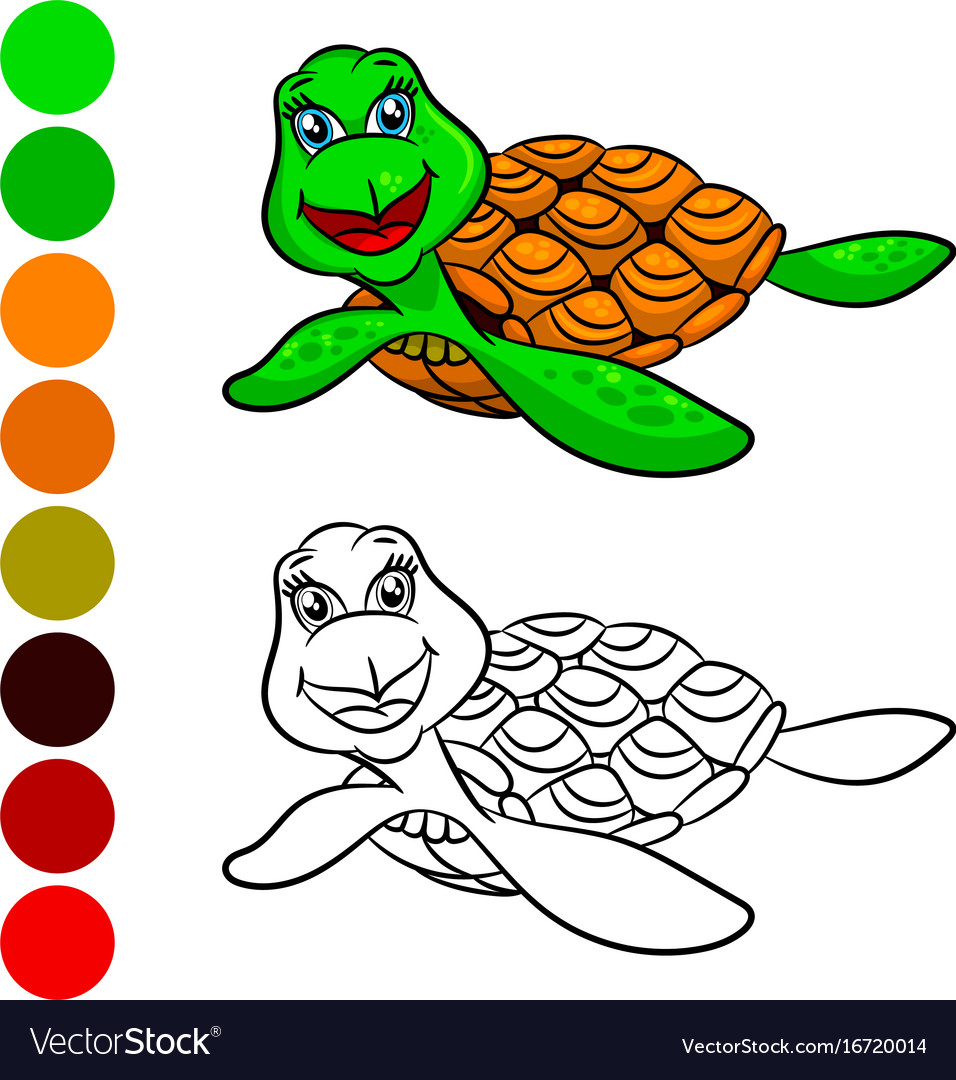 Turtles coloring book Royalty Free Vector Image