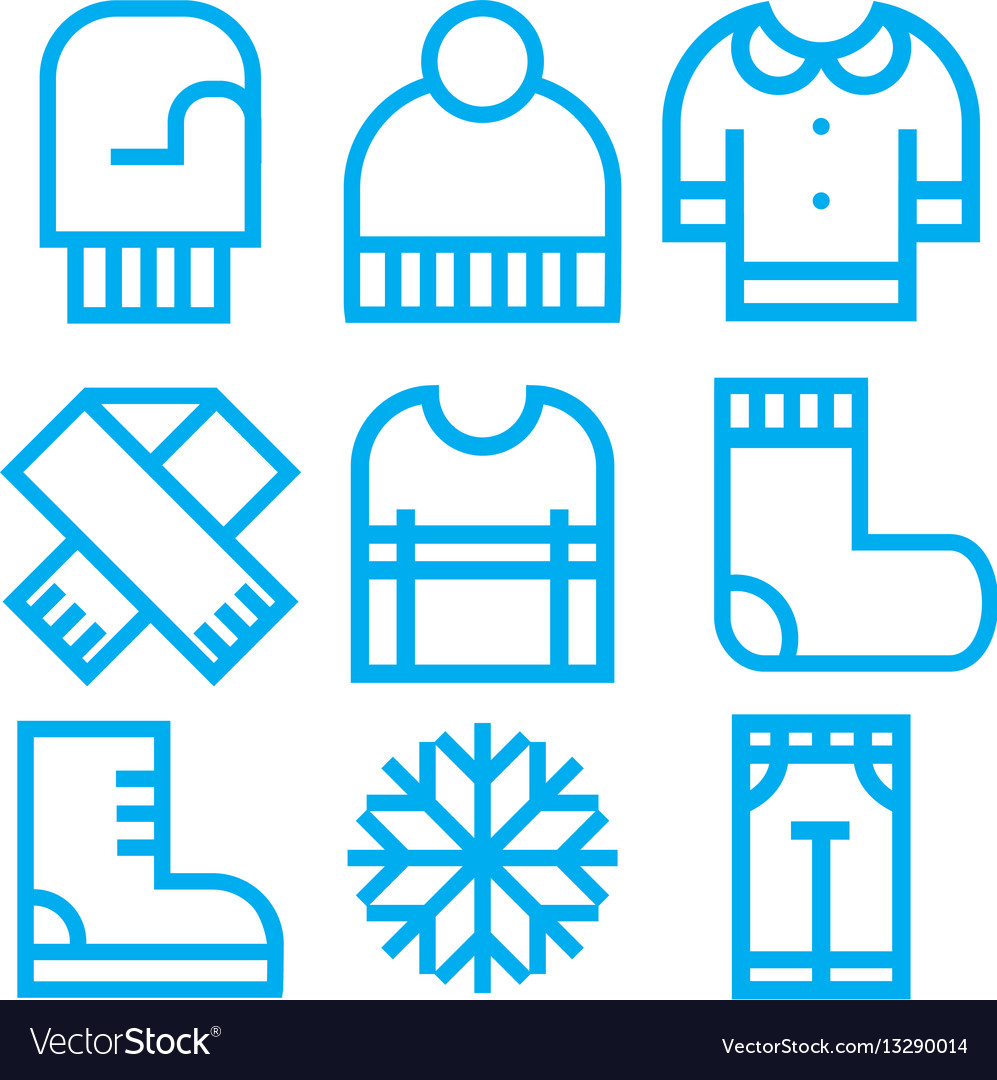 Winter clothing icons