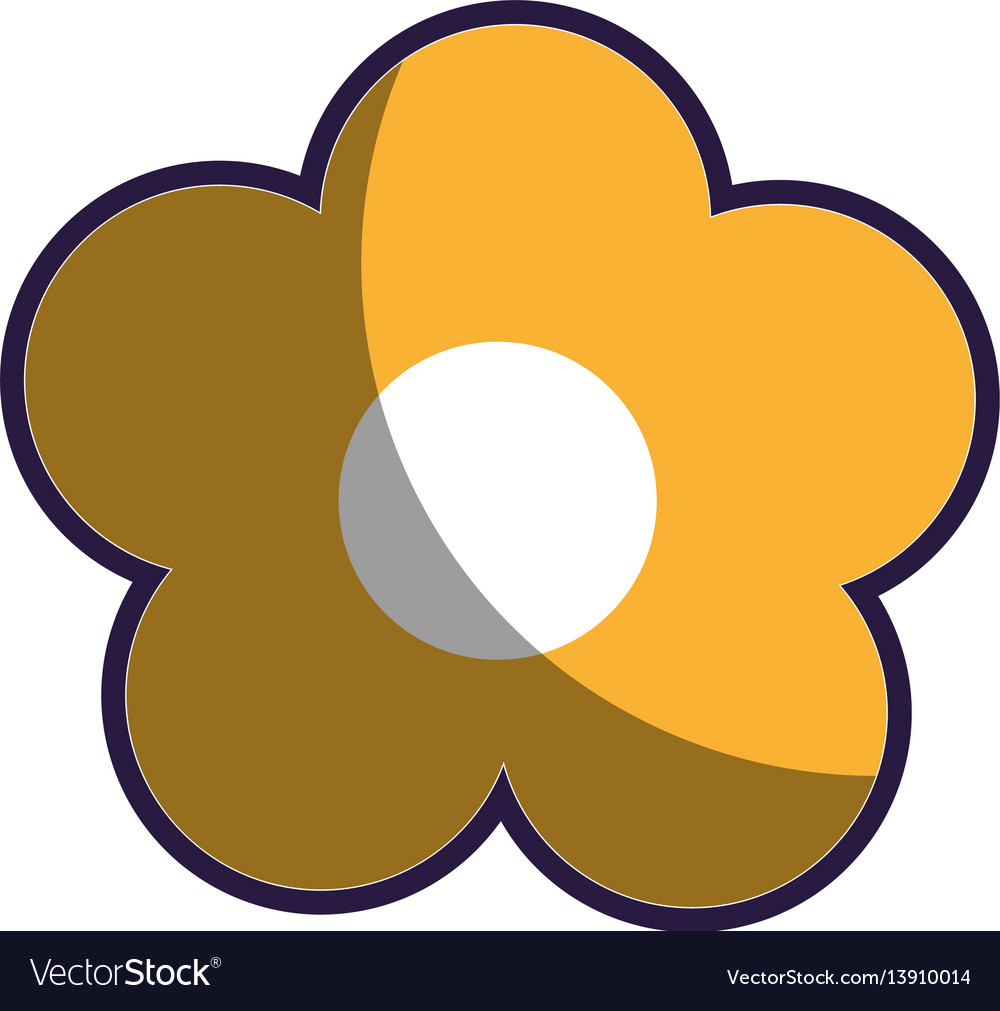 Yellow Silhouette Figure Flower Icon Floral Vector Image