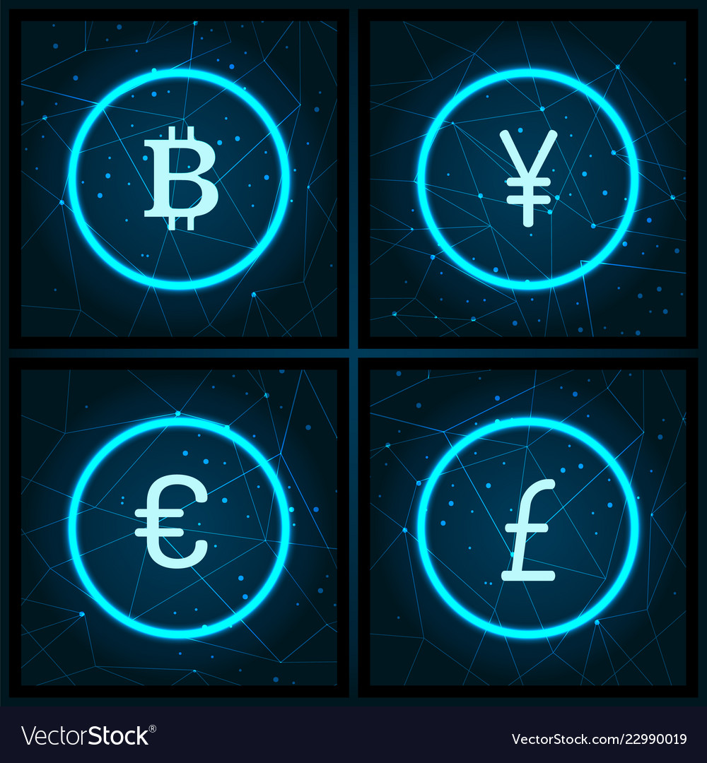 Bitcoin and yen pound sterling icons set