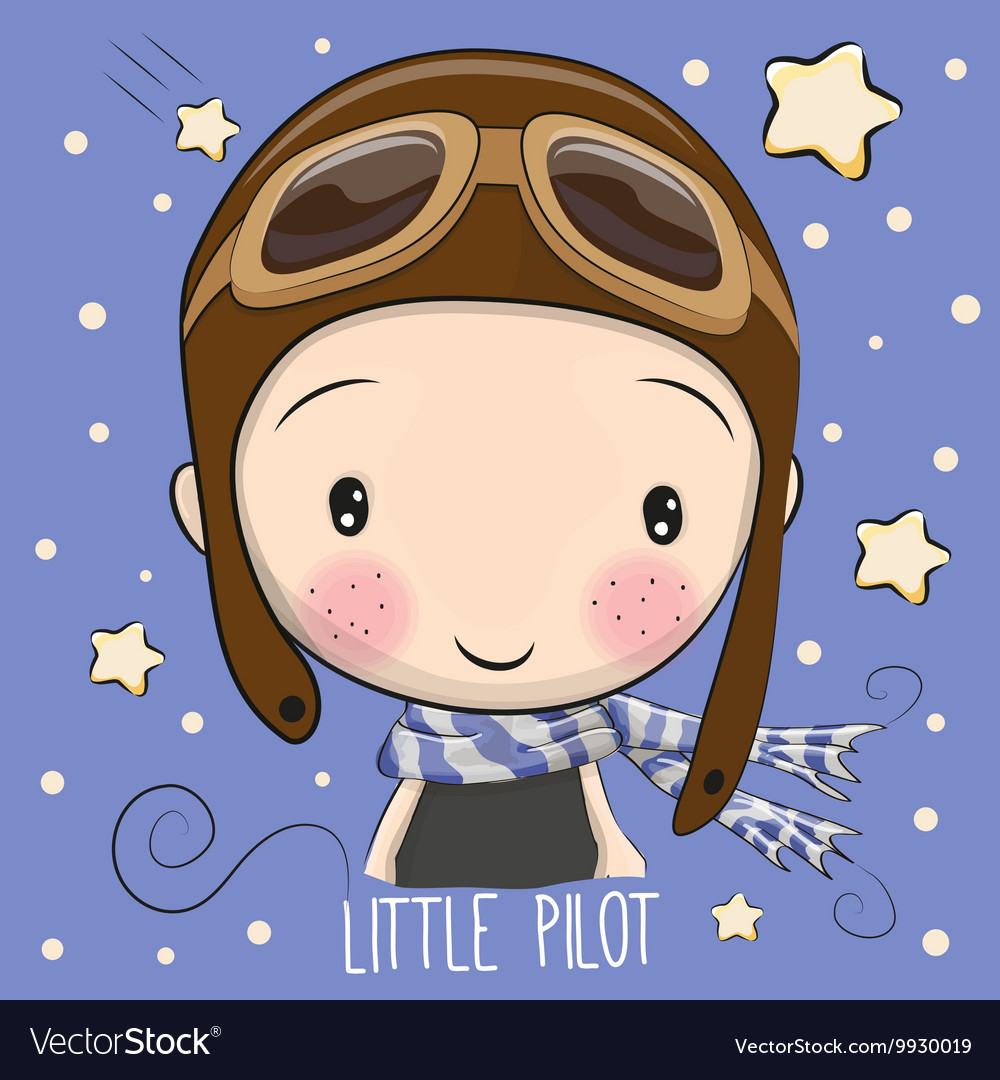 Boy in a pilot hat vector image