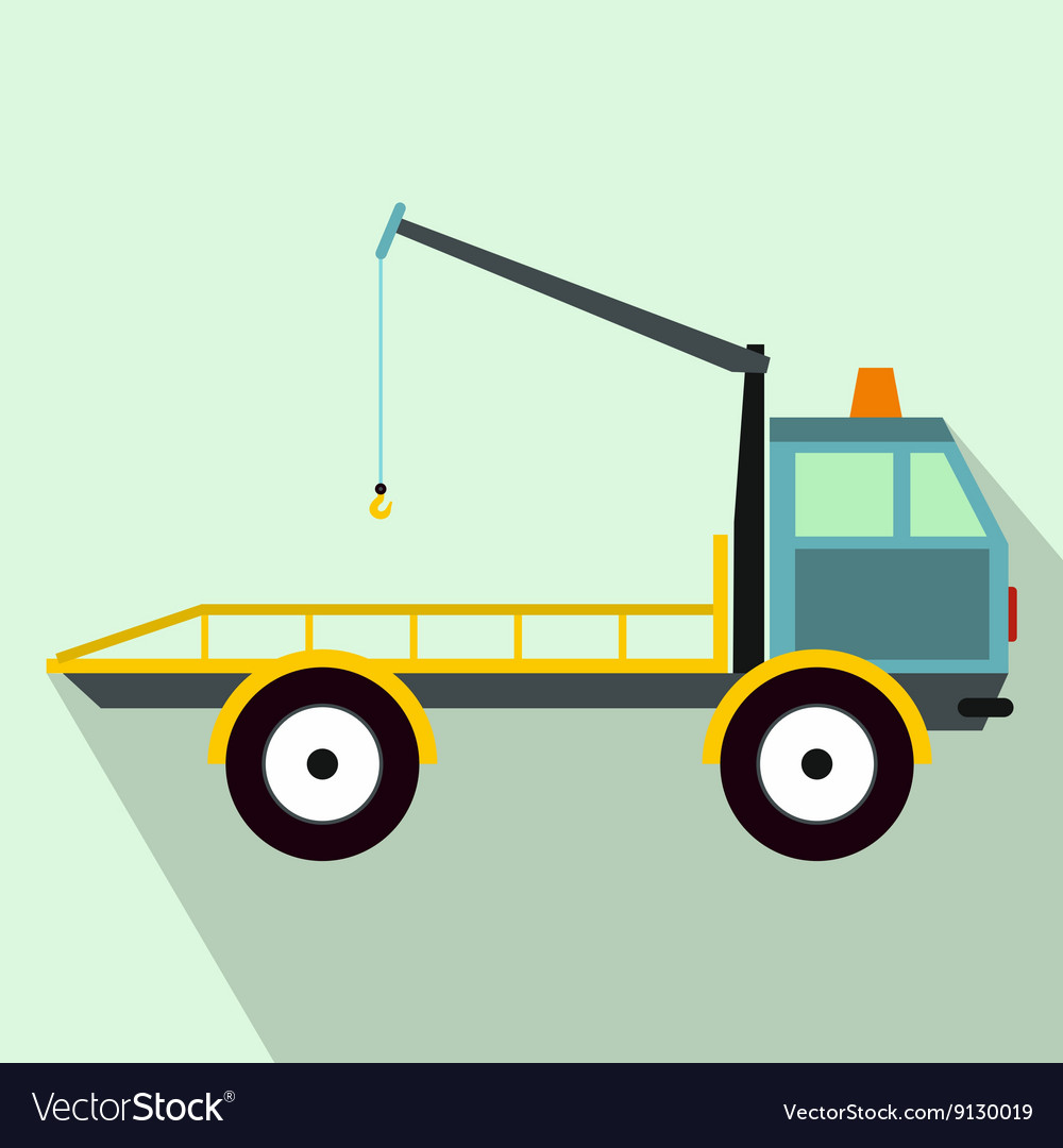 Car towing truck icon in flat style