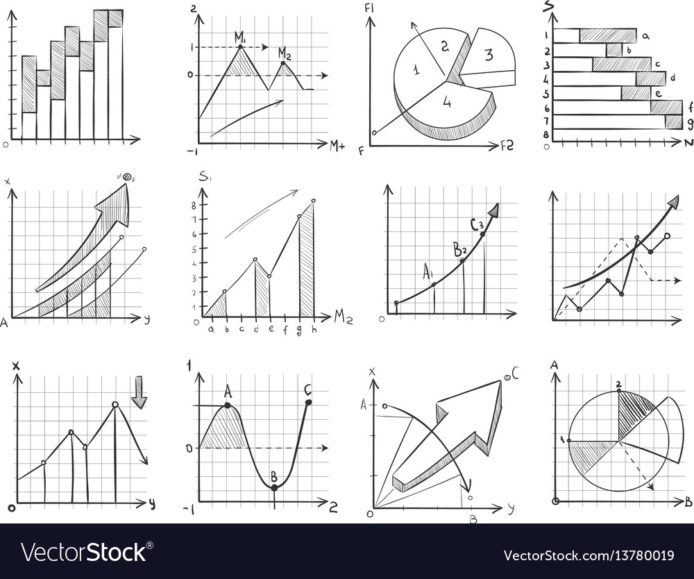 Cartoon sketch business graphic charts vector image