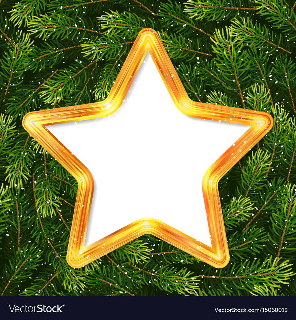 Christmas holiday gift card with gold star and fir
