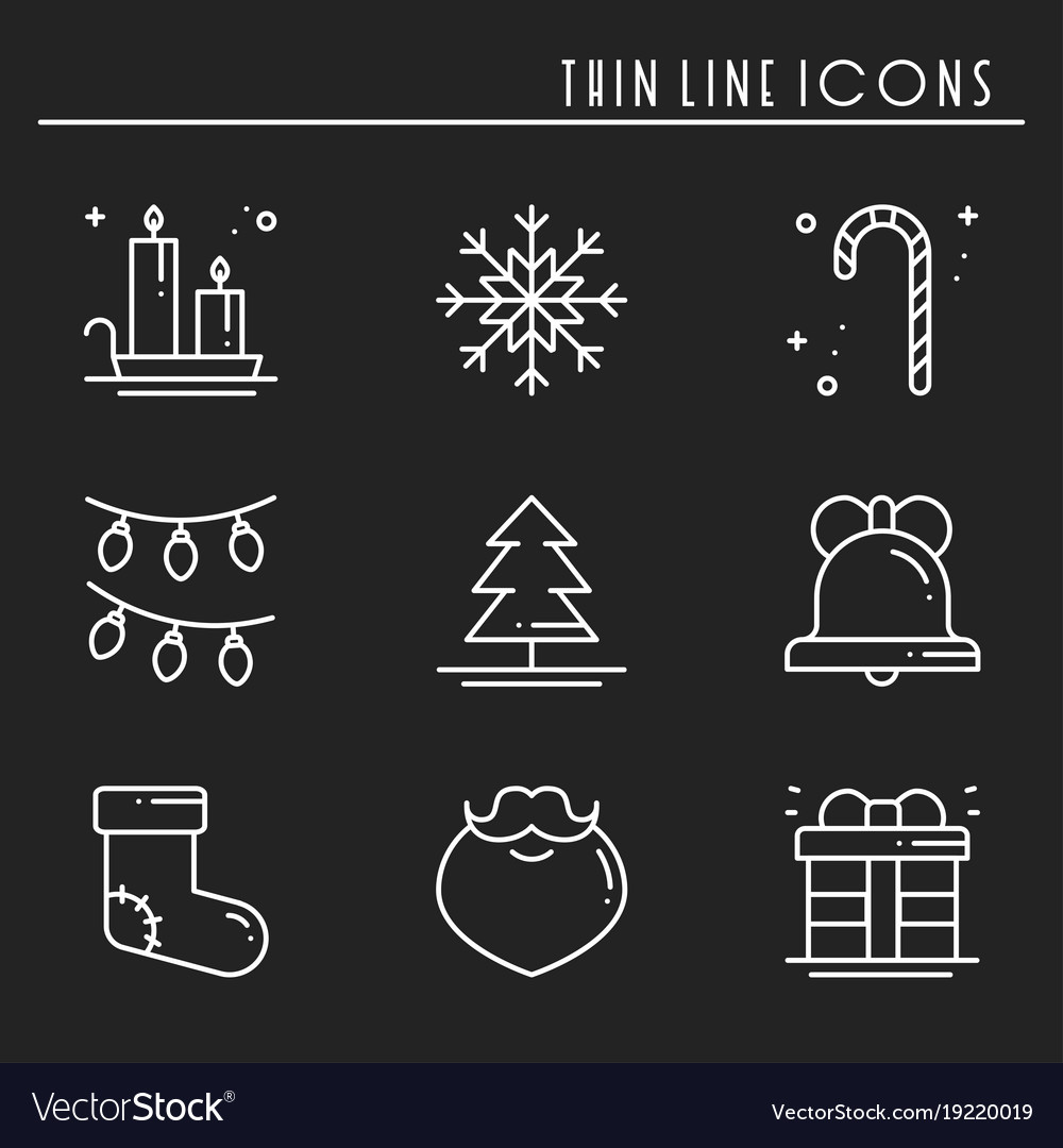 Christmas holiday thin line icons set new year