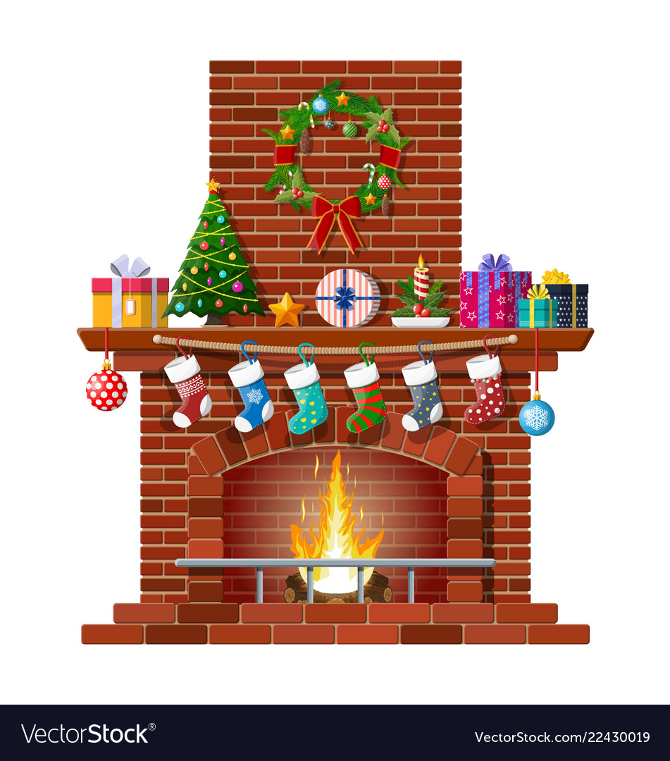 Fireplace Christmas.Christmas Red Brick Classic Fireplace
