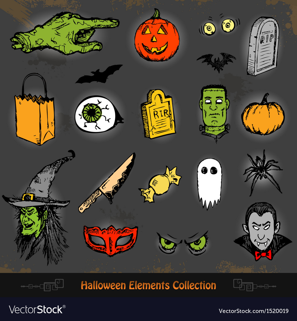 Hand drawn Halloween doodles collection set