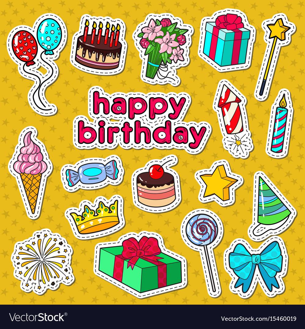 Happy birthday party decoration doodle