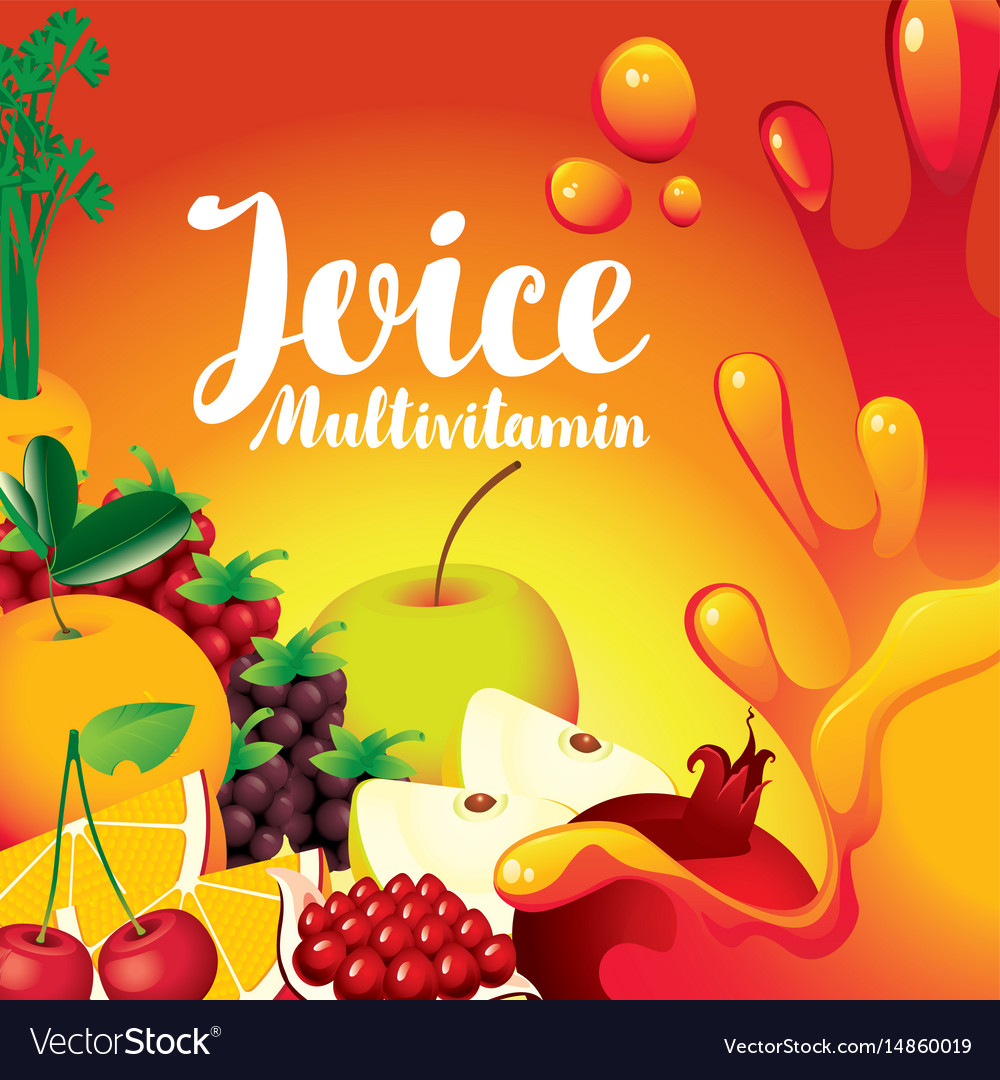 Label for juice with different fruits and berries vector image