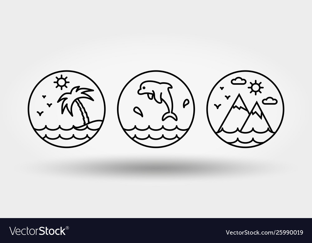 Nature vacation camping set icons logos