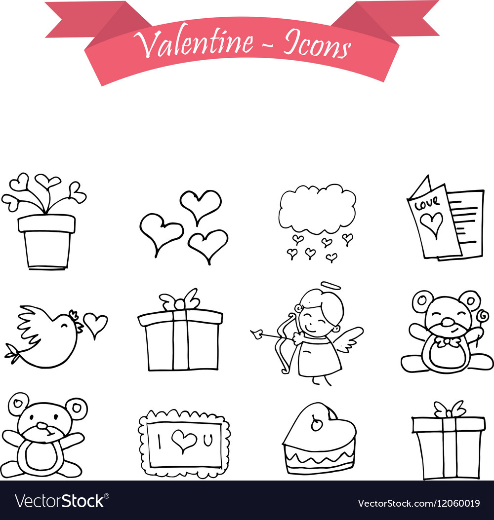 Object valentine day icon with hand draw vector image