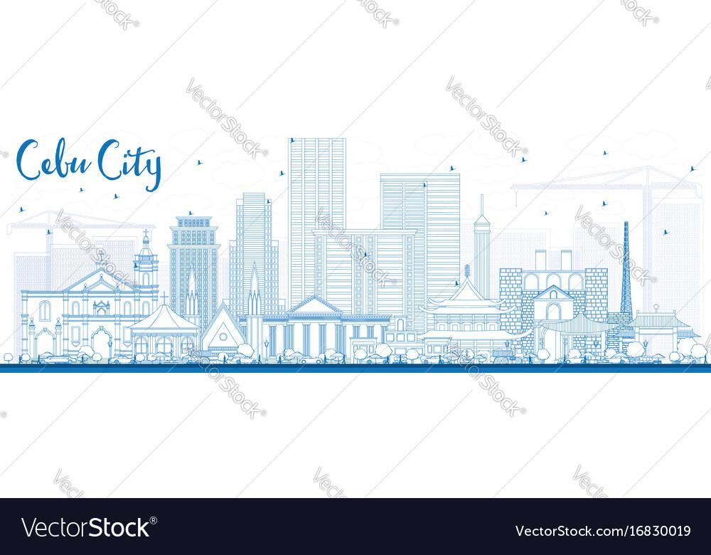 Outline cebu city philippines skyline with blue