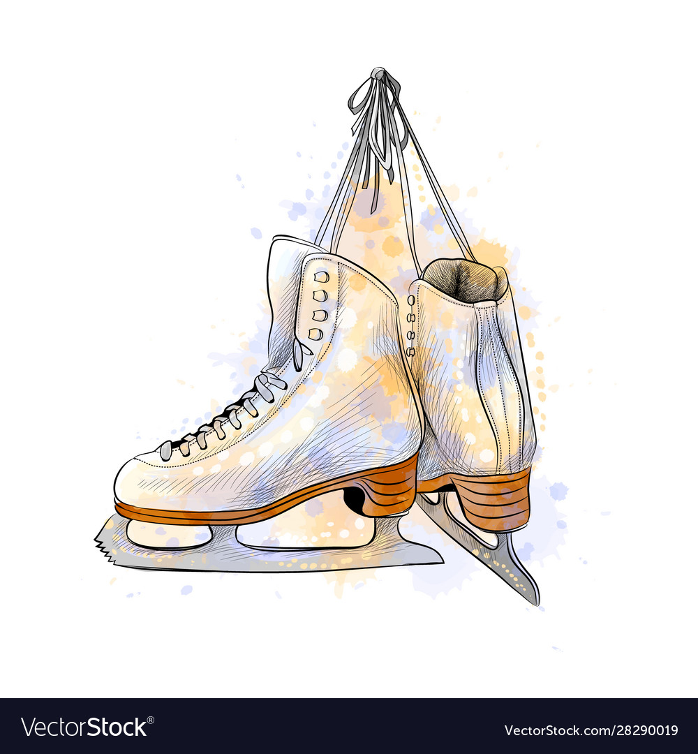 Pair figure ice skates from a splash of