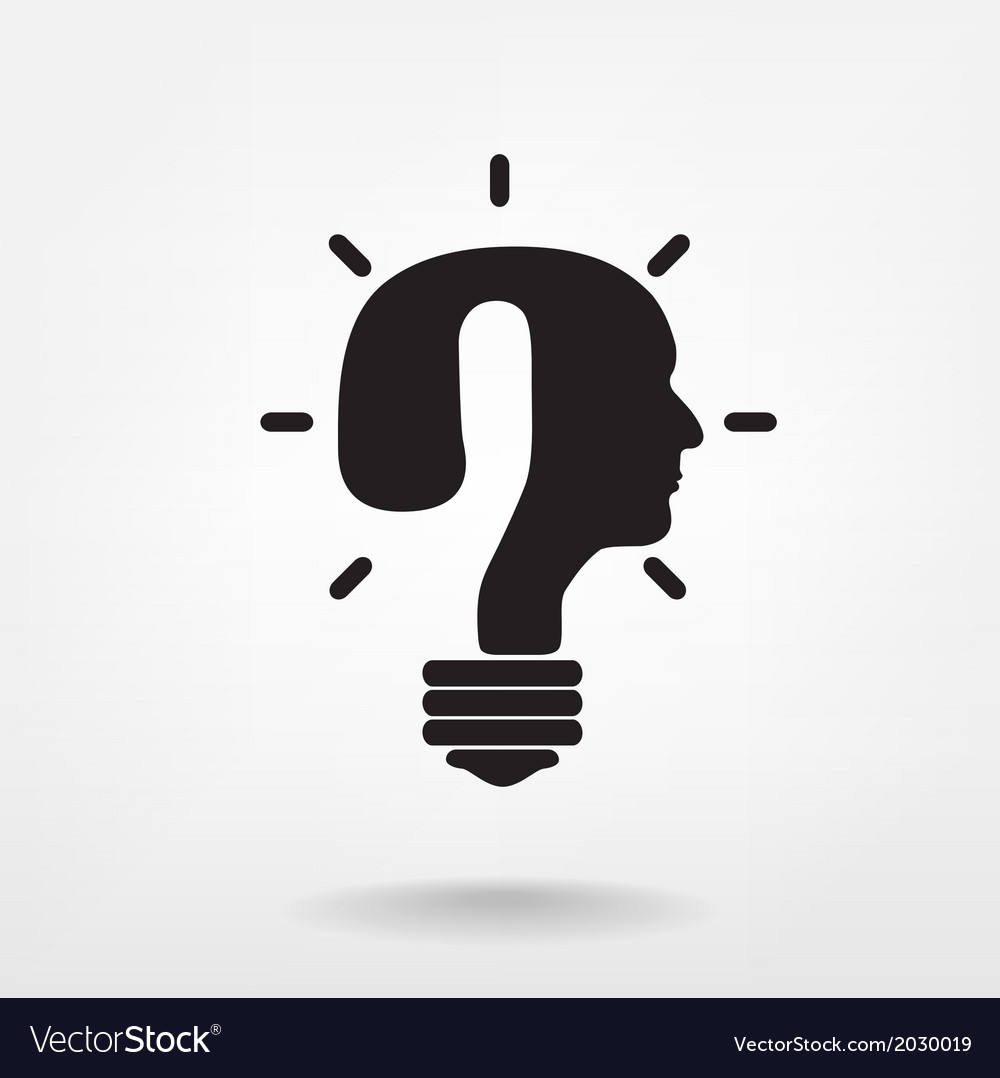 Question mark man head symbol and light bulb shape vector image