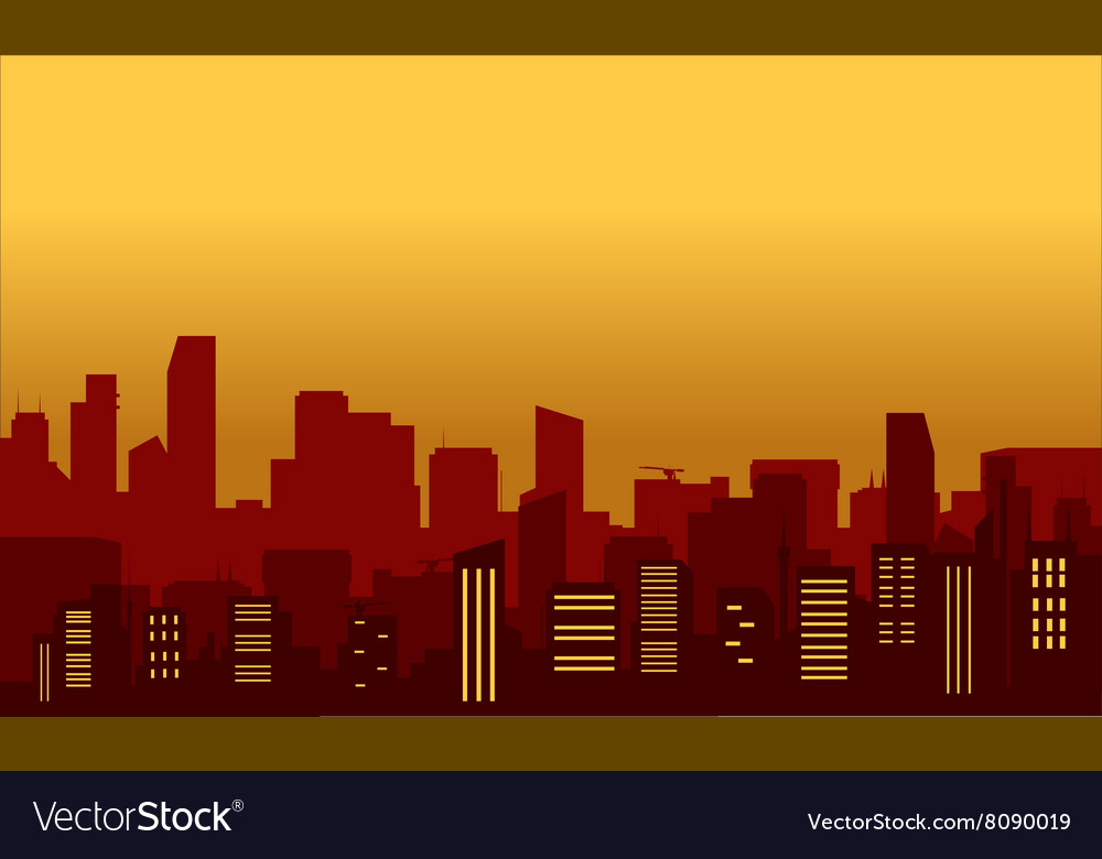 Silhouette of congested city