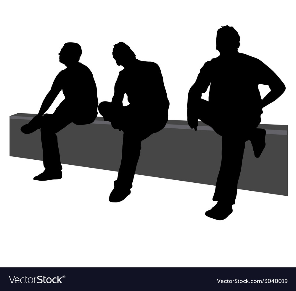 three men sit on the fence royalty free vector image rh vectorstock com Wooden Fence Vector Wooden Fence Vector