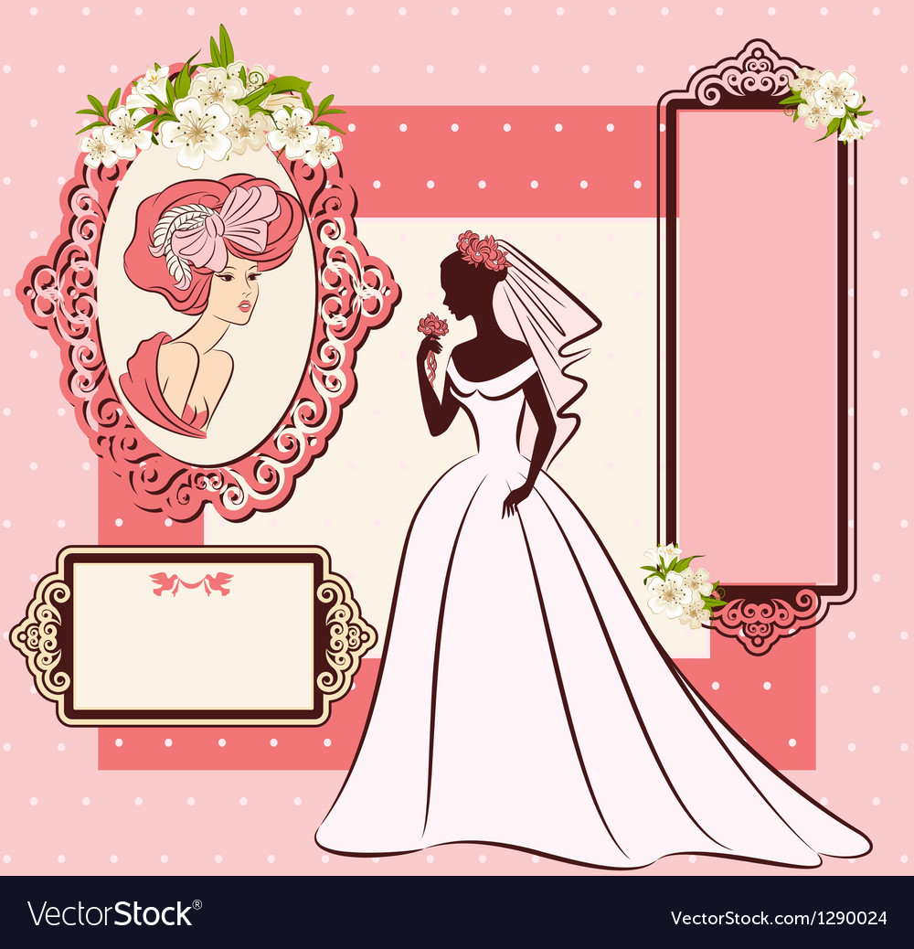Beautiful bride in dress vector image