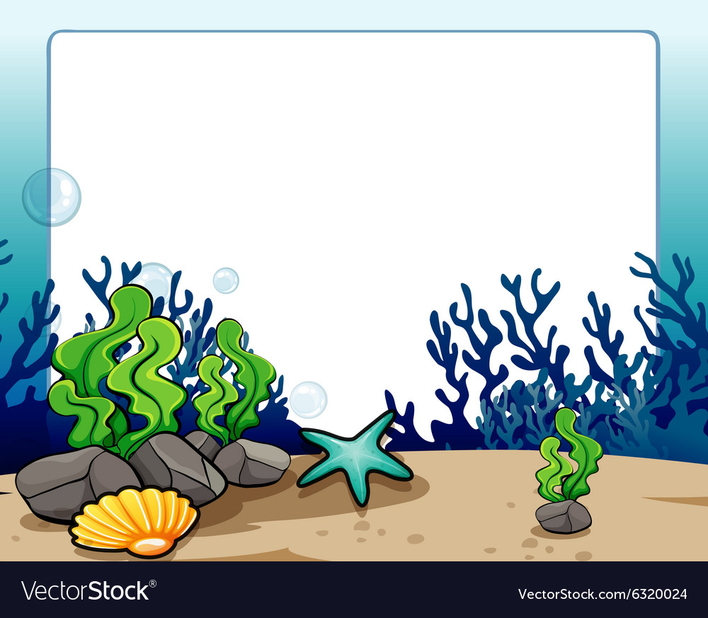 border design with underwater scene royalty free vector