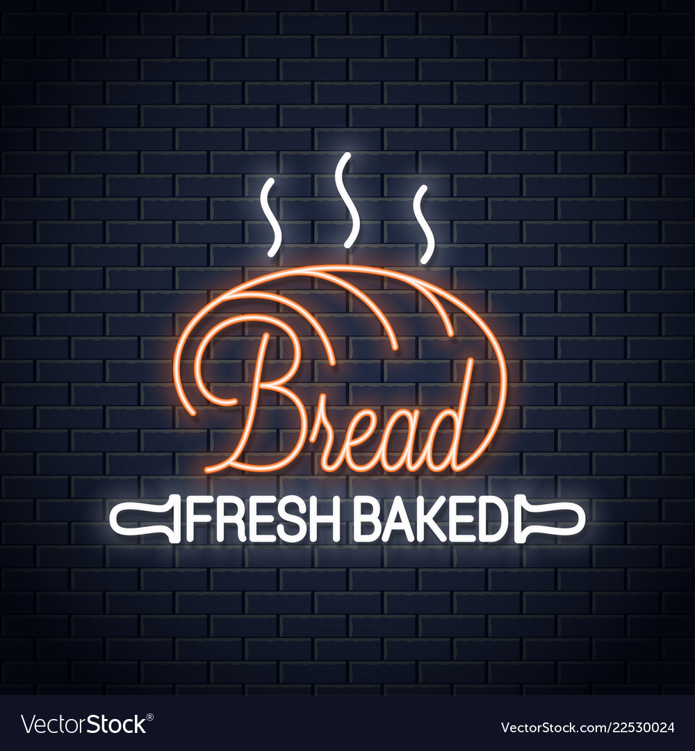 Bread neon banner bakery neon sign on wall