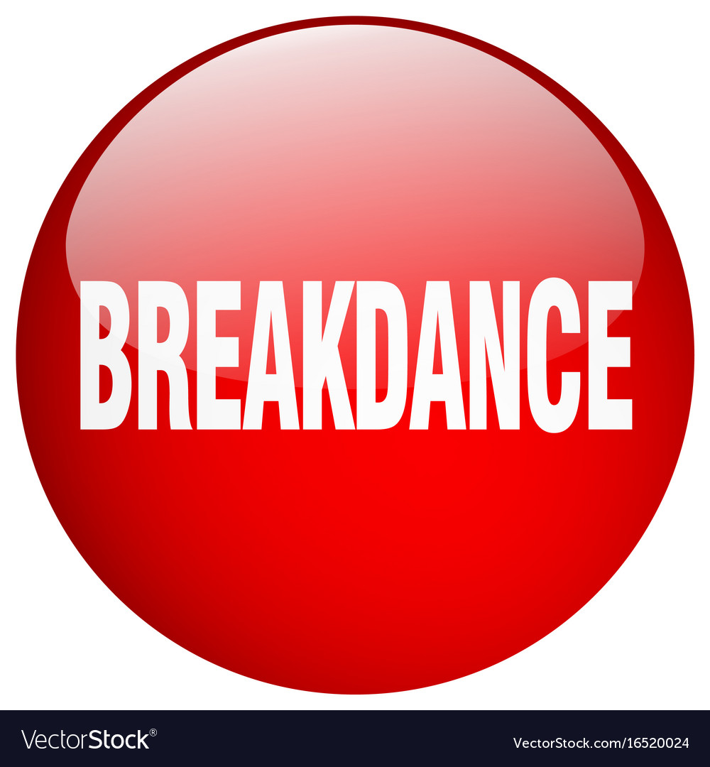 Breakdance red round gel isolated push button