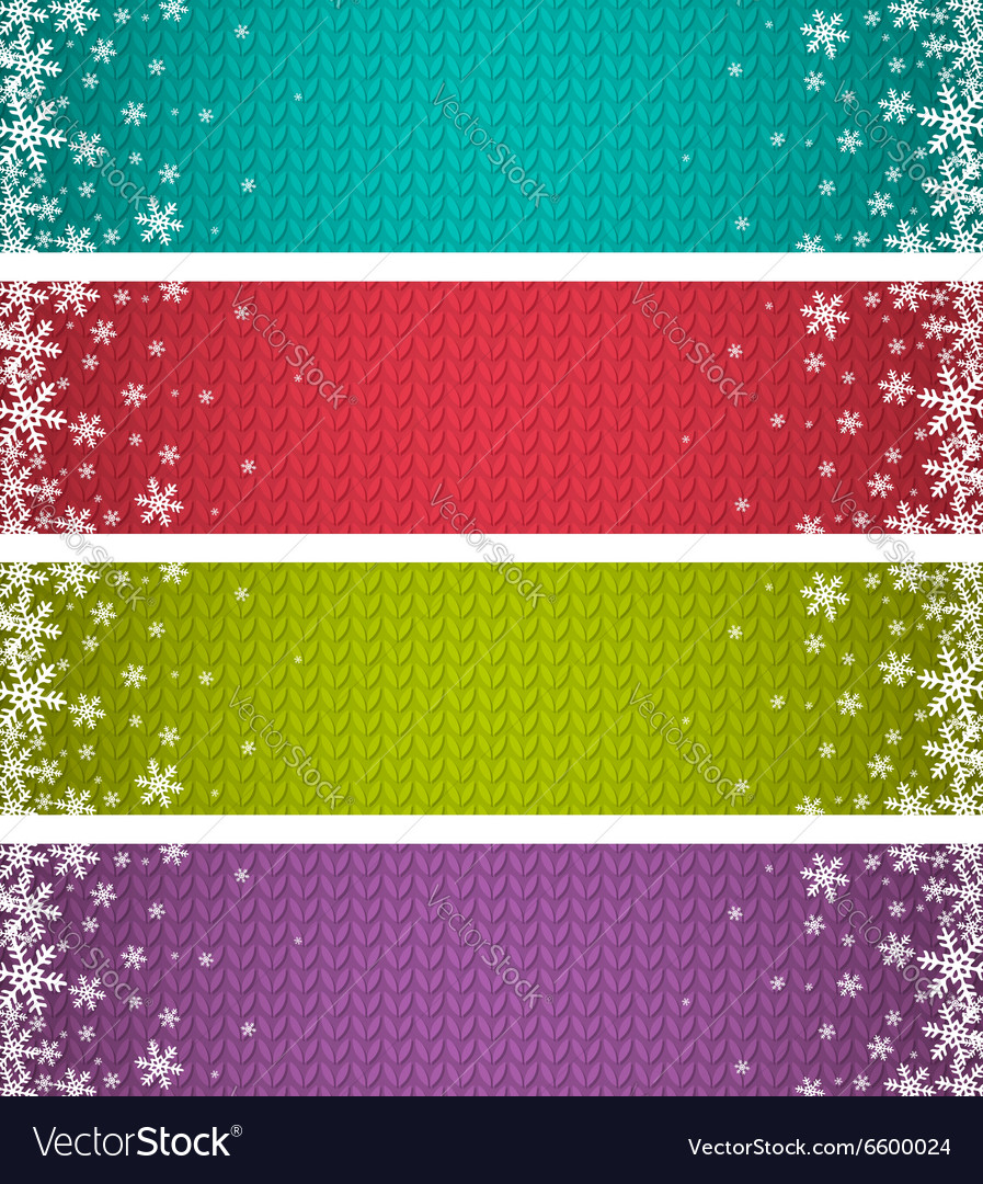Color christmas banners with snowflakes