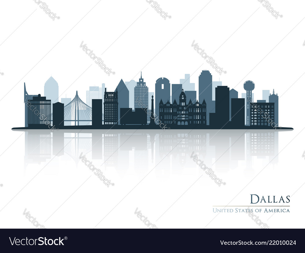 Dallas blue skyline silhouette with reflection