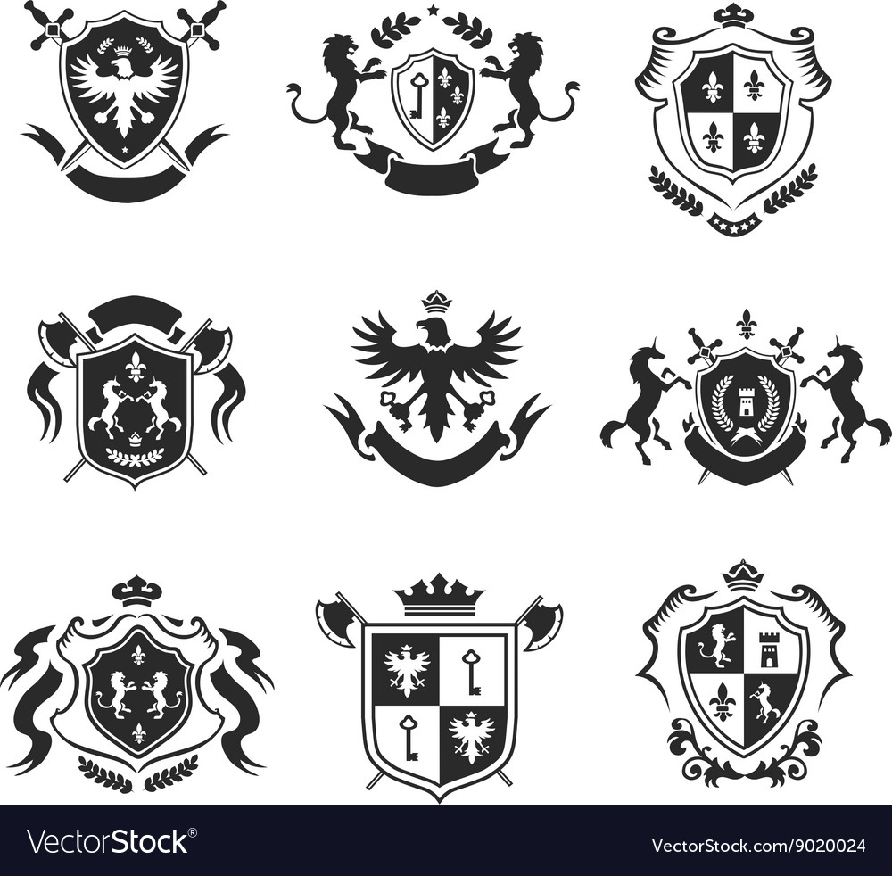 Heraldic coat of arms decorative emblems black set vector image