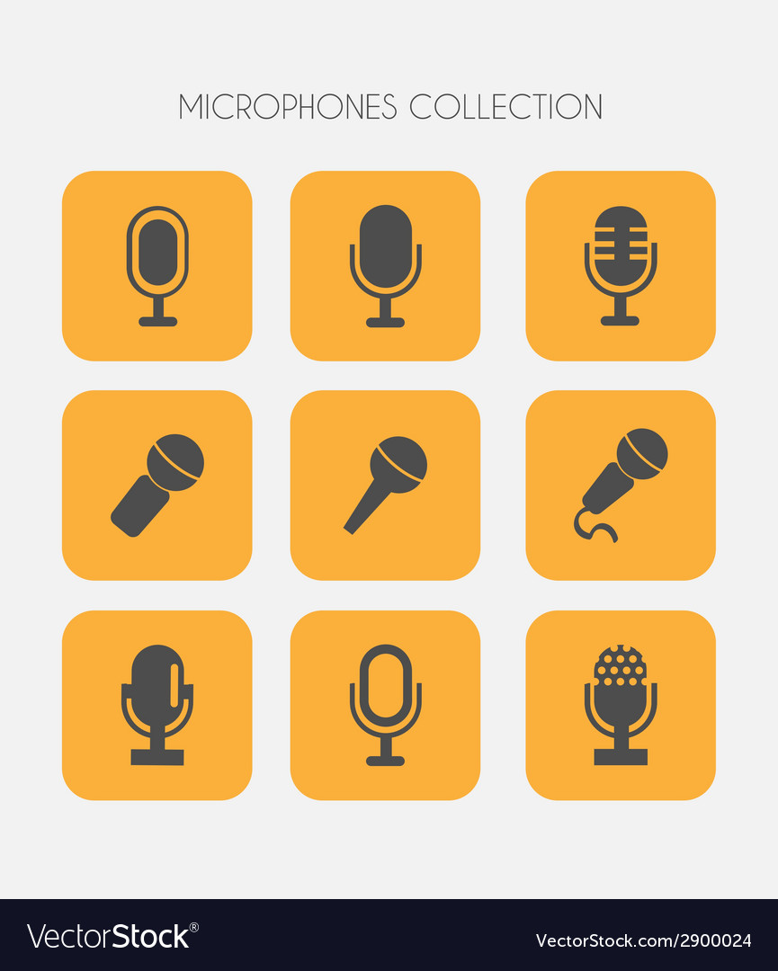 Microphone icons flat style