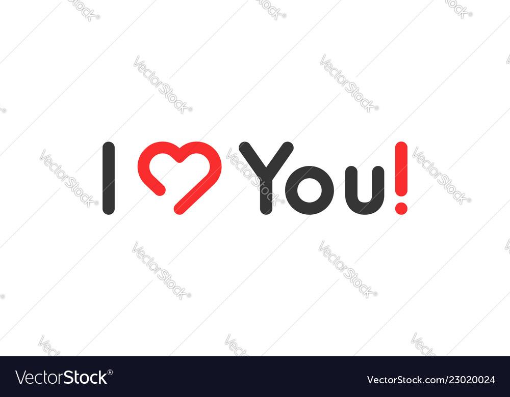 Simple linear i love you logo