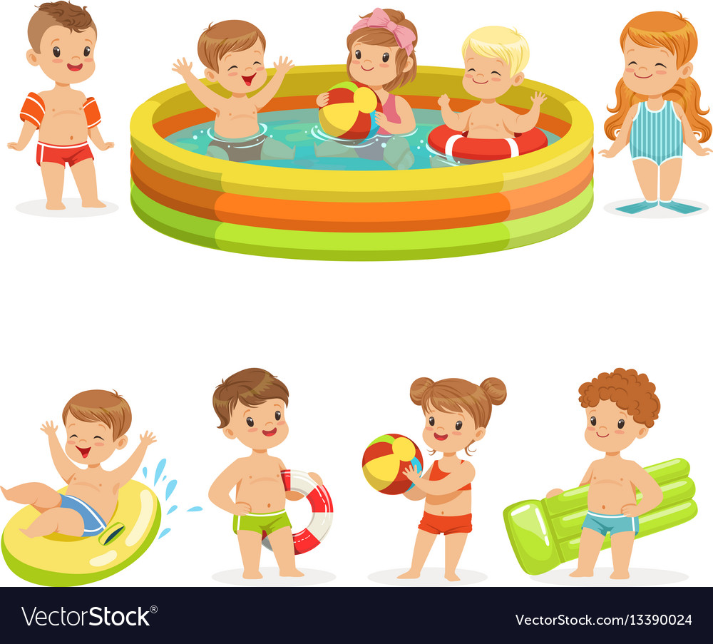 Small children having fun in water of the pool vector image