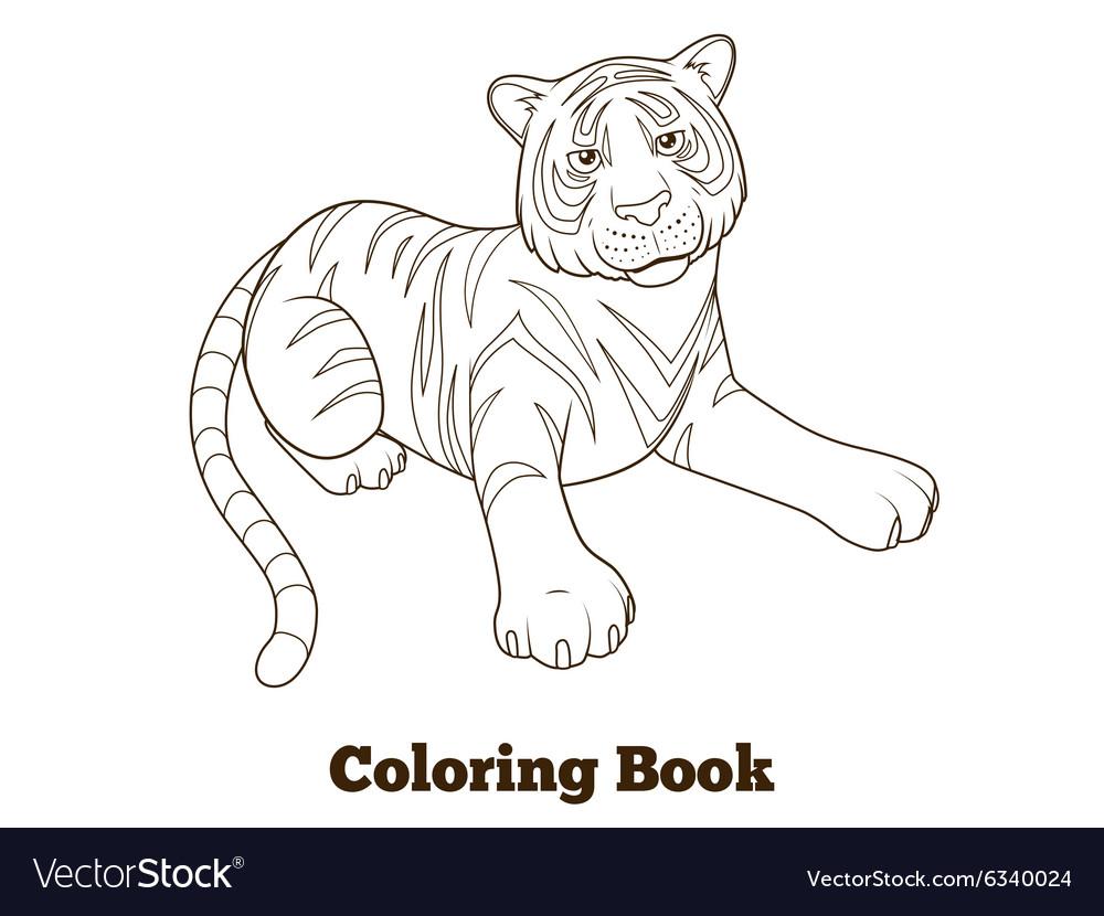 Tiger Cartoon Coloring Book Royalty Free Vector Image