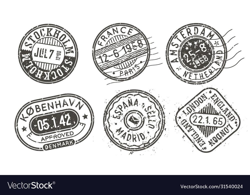 Visa stamps set retro postal stamps