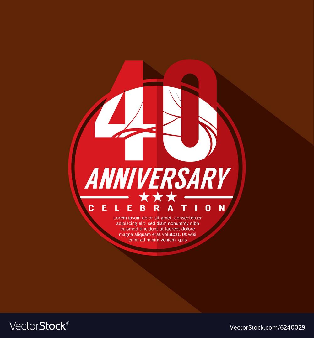 40 Years Anniversary Celebration Design vector image