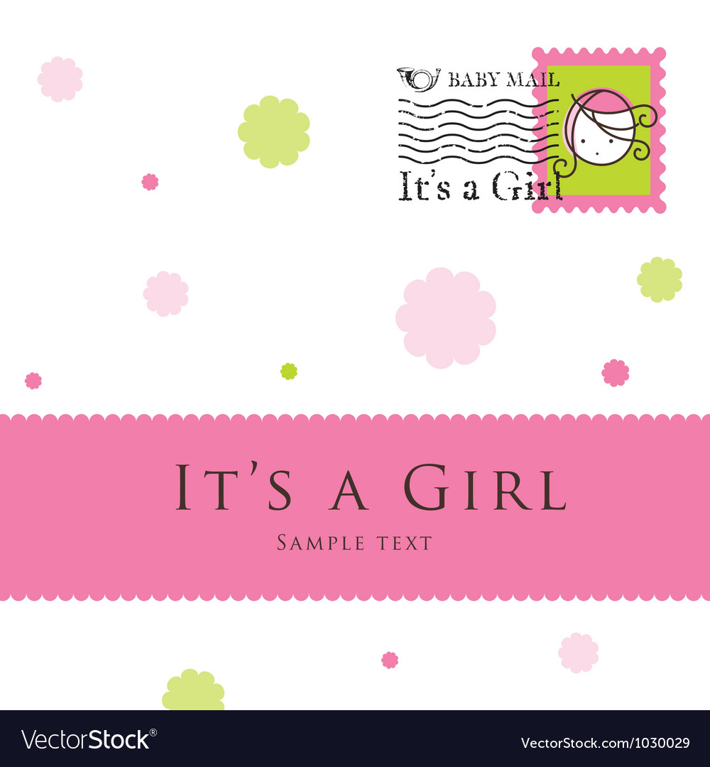 baby girl arrival card royalty free vector image