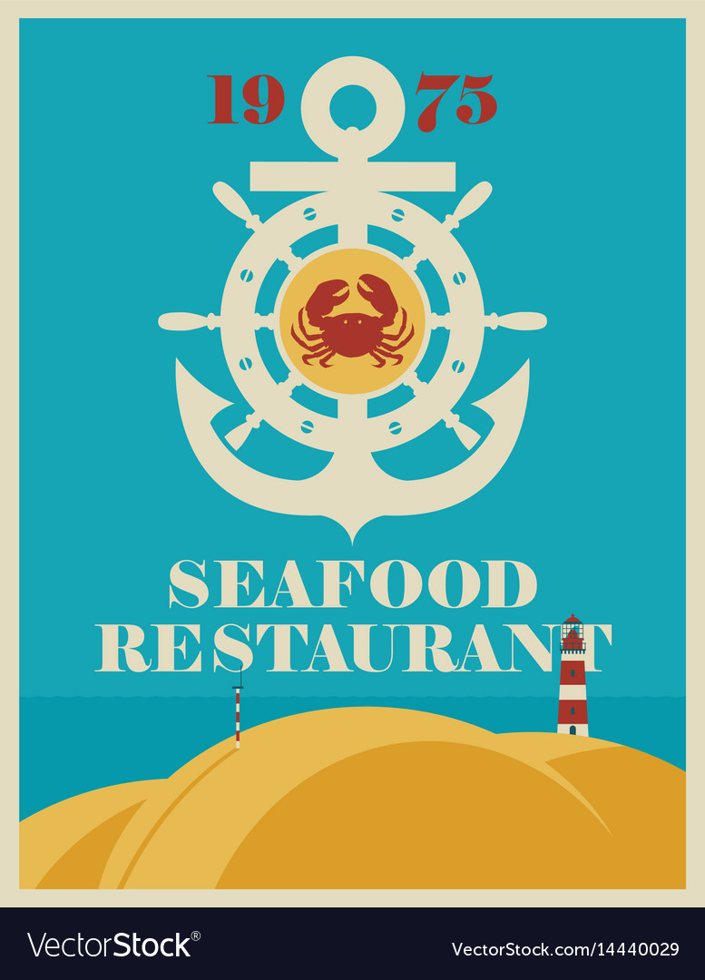 Banner for a seafood restaurant with an anchor