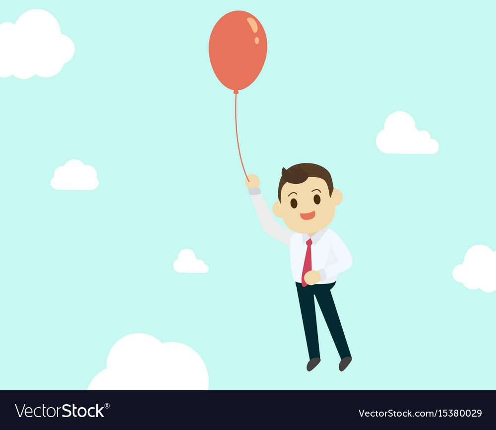 Businessman with air red balloon up high and sky