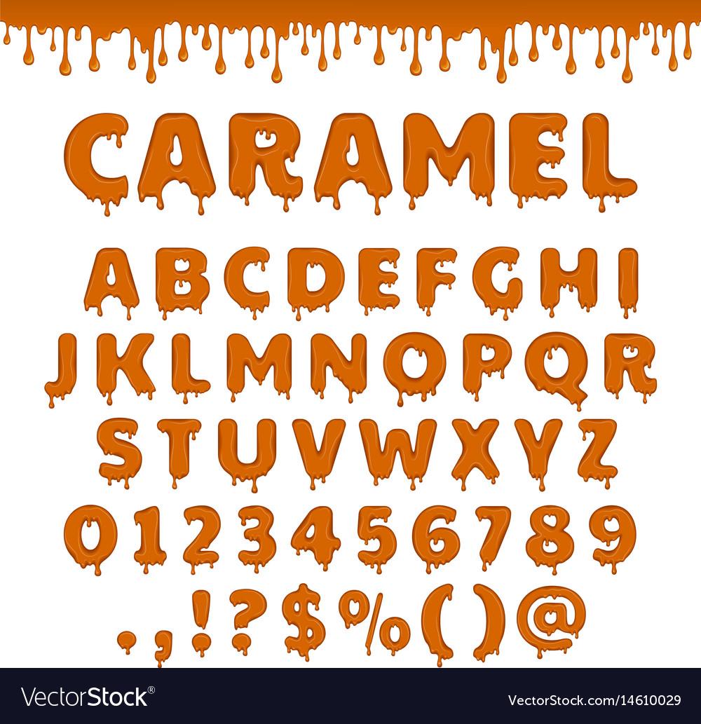 Caramel latin alphabet abc