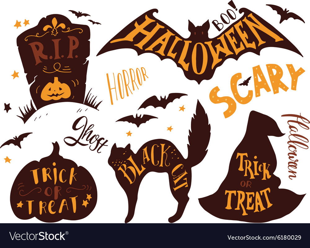 Collection of Halloween symbols with hand