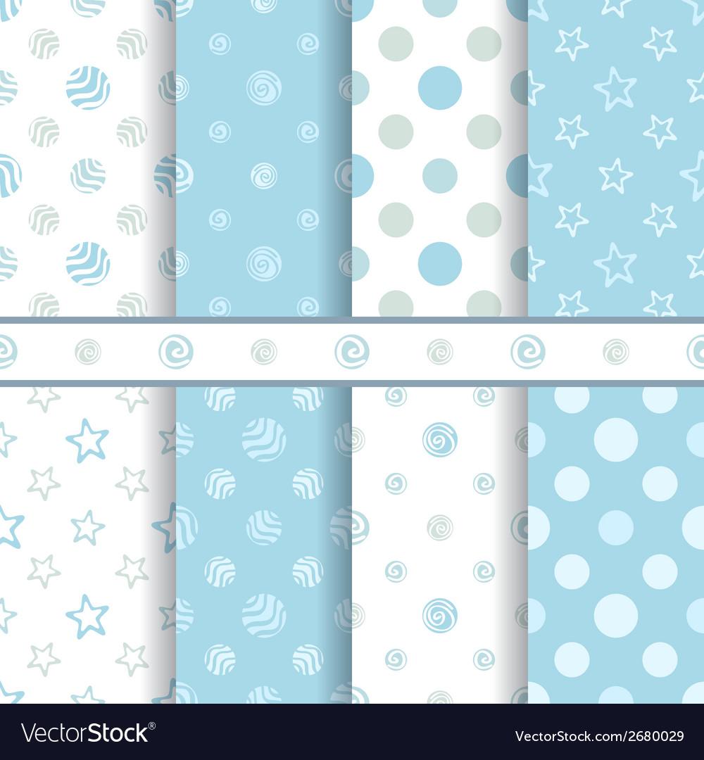 ca8b51b451b5 Cute baby patterns set - seamless boy blue texture vector