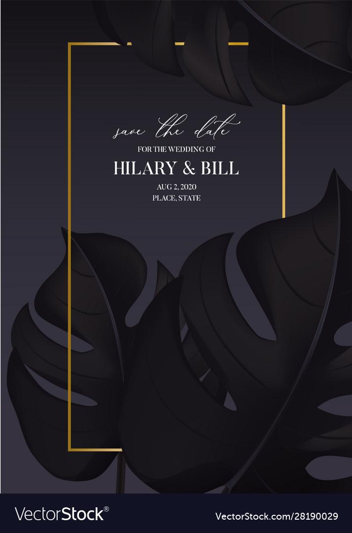 Dark black gold mpnstera leaves greeting card