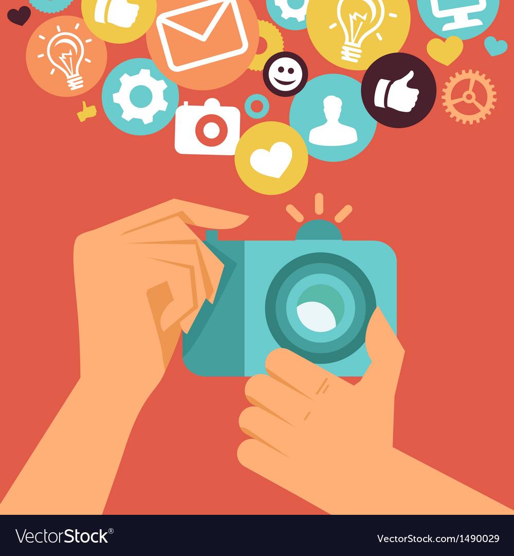 Digital camera in flat retro style vector image