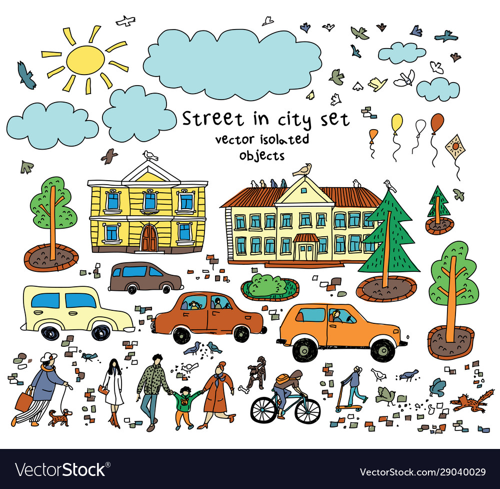 Doodles street sity object people cars houses sun