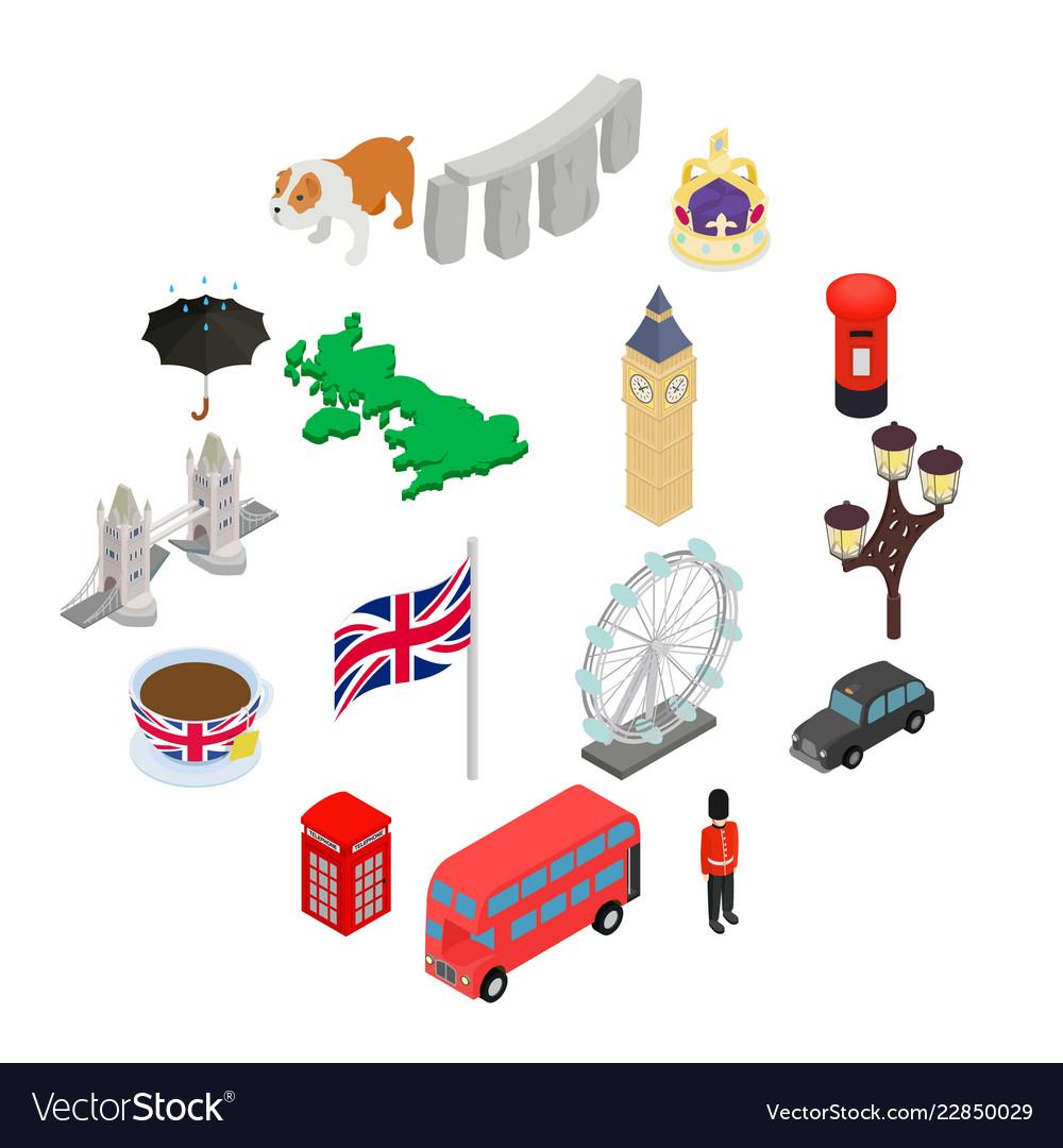 England icons set isometric 3d style