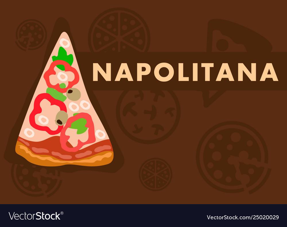 Napolitana Pizza Web Banner Flat Cartoon Template Vector Image