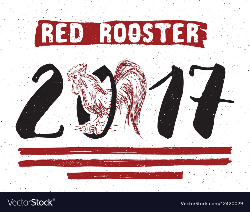 Red rooster or cock symbol 2017 year hand