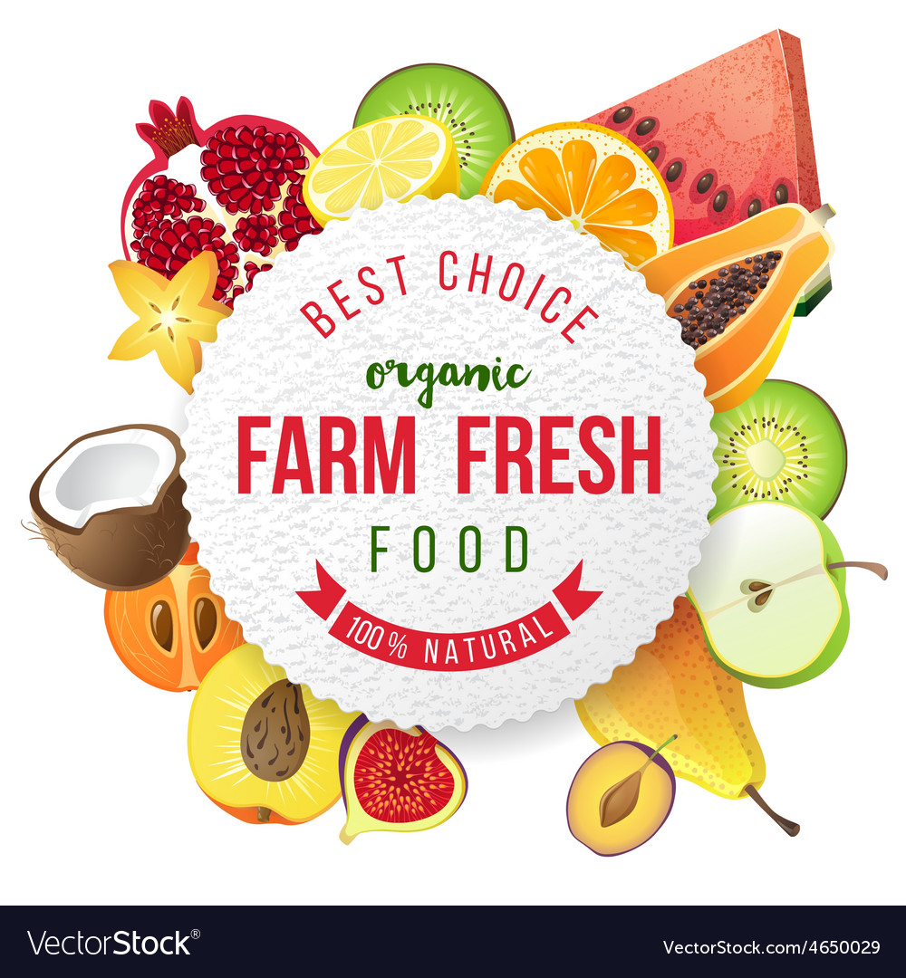 Round emblem with fresh fruits and type design vector image
