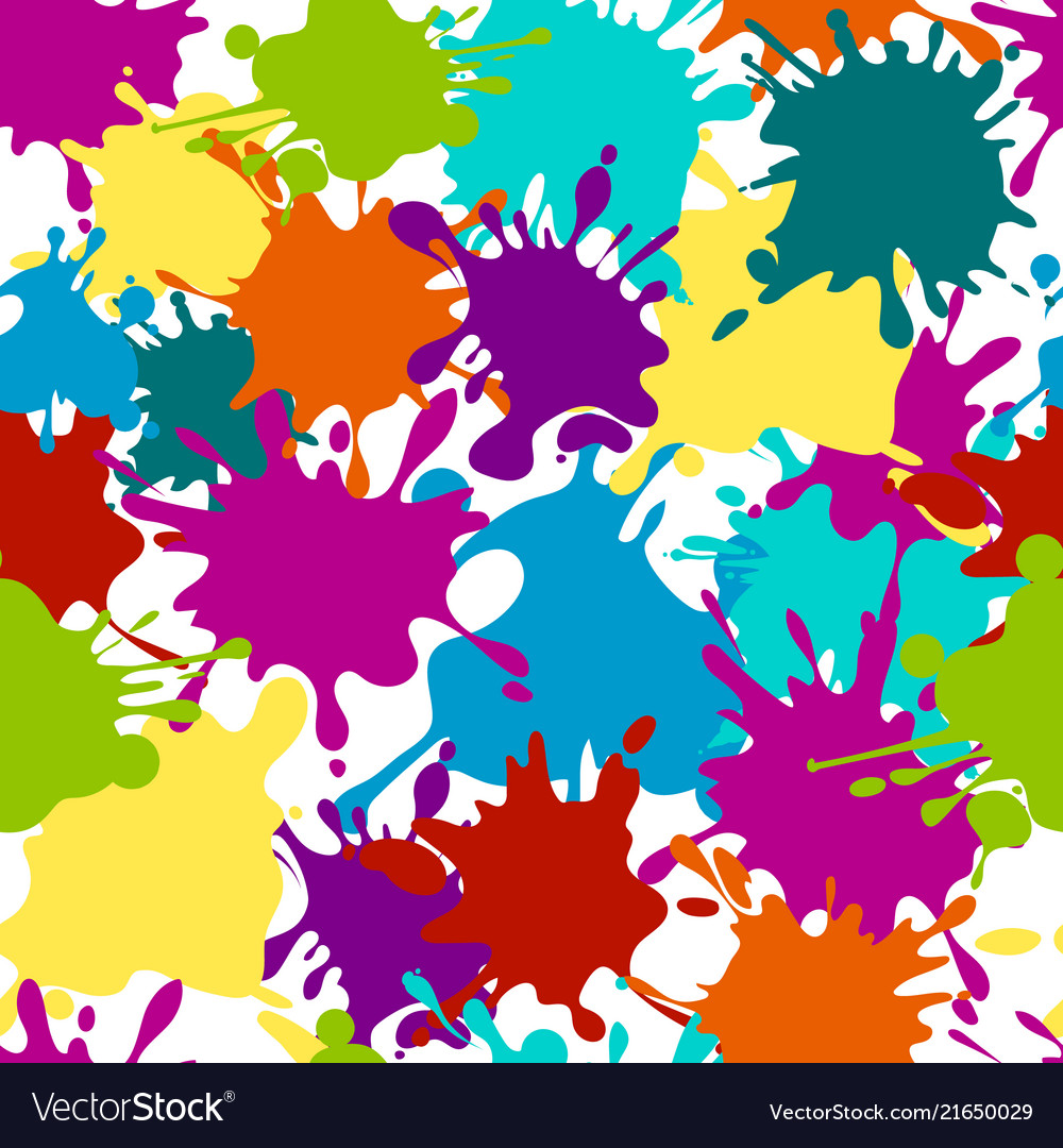 Seamless pattern paint splashes color