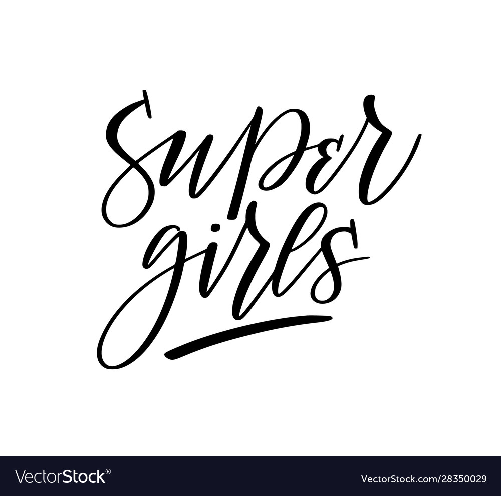 Super girls feminist fun doodle lettering