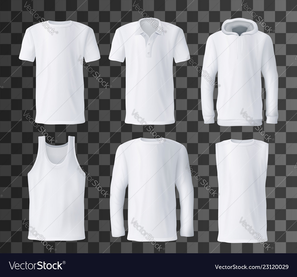 T Shirt Template Polo Hoodie And Tank Top Mockup Vector Image