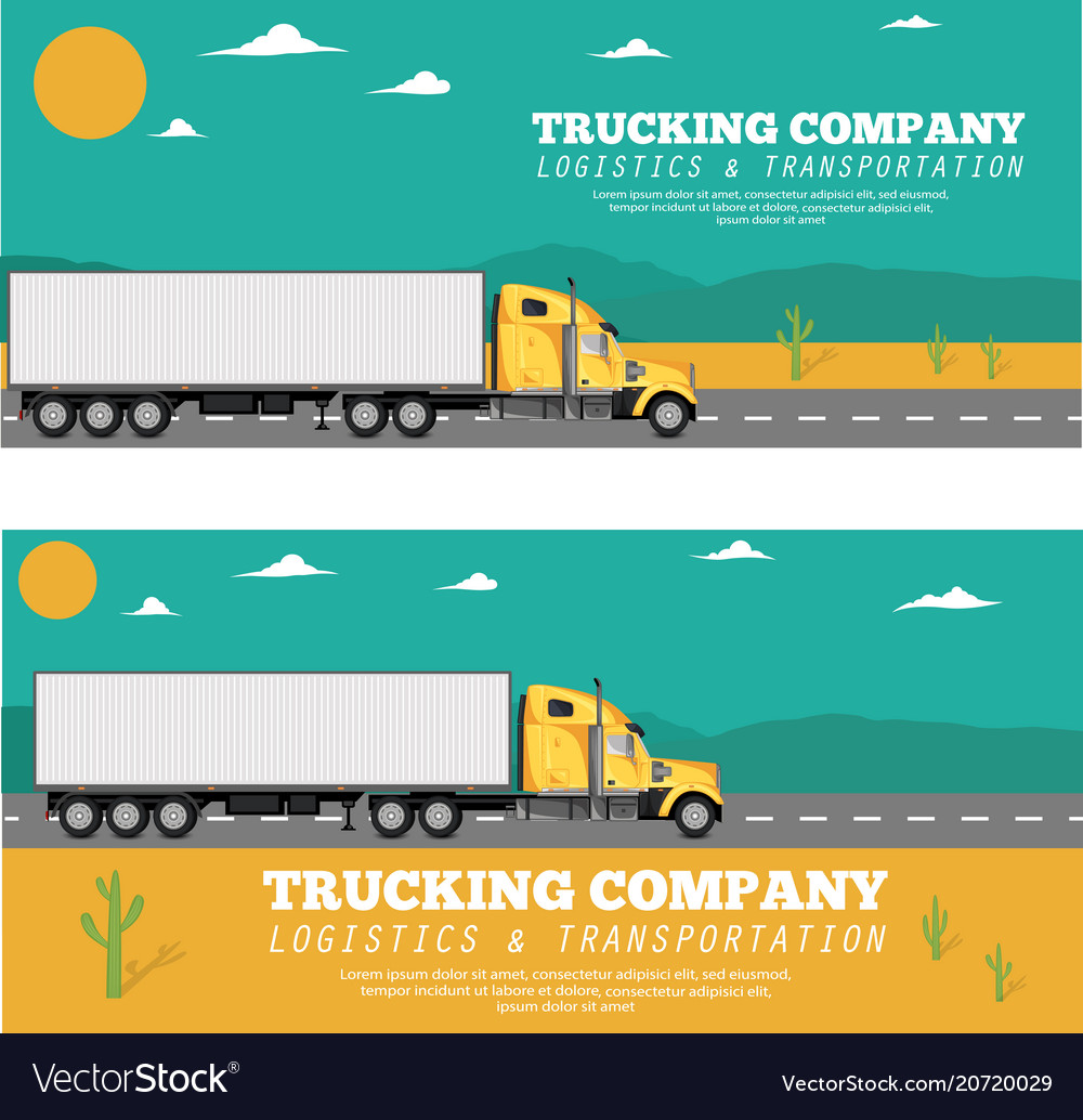 trucking company flyers with container truck vector image